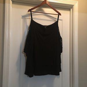 Torrid Size 4 Black Lace Inset Cold Shoulder Top